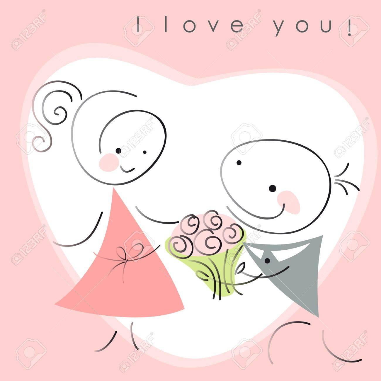 バレンタイン カップル、女性とピンクの背景の心の花を持つ男性