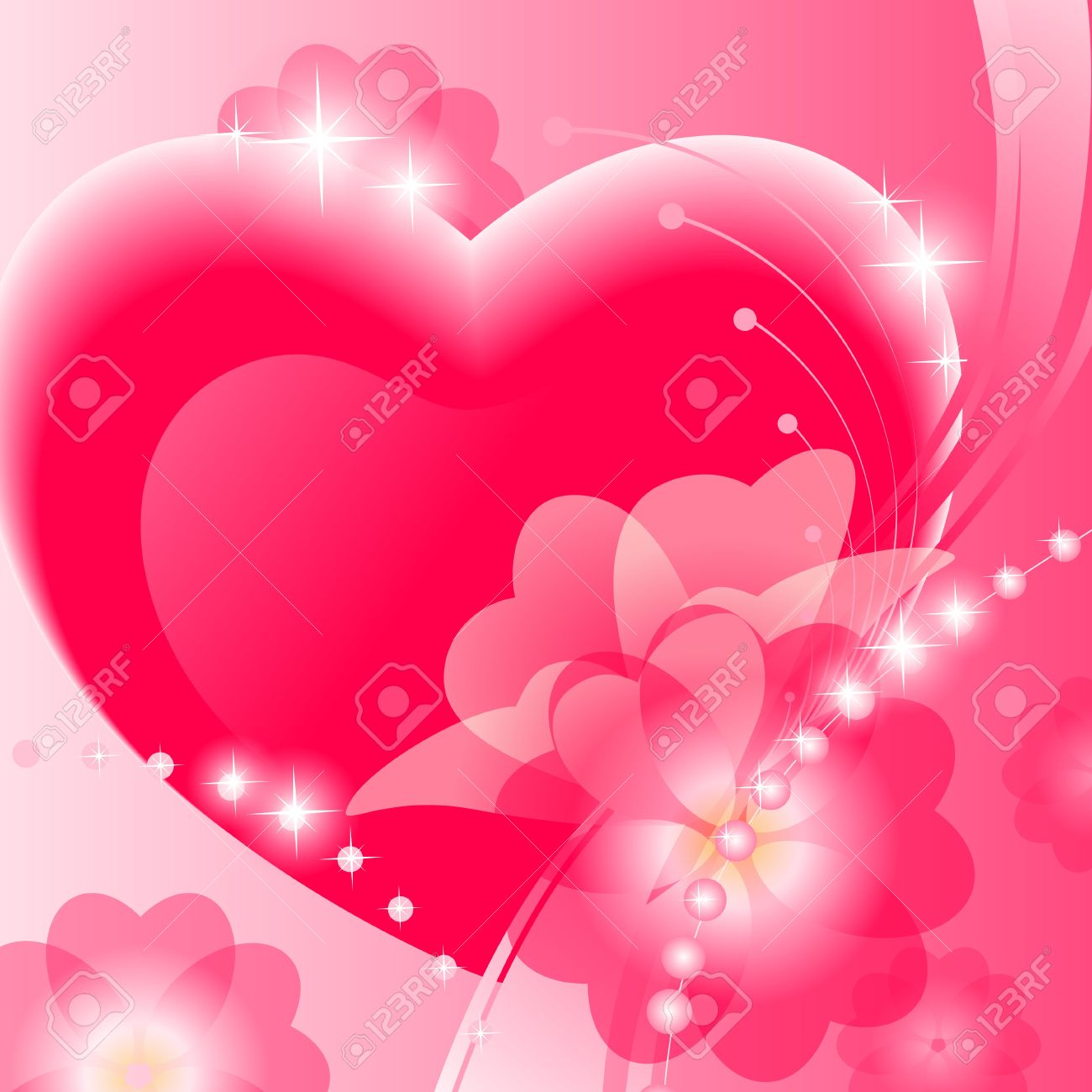 Abstract Valentine Background With Heart And Flower On Pink Stock