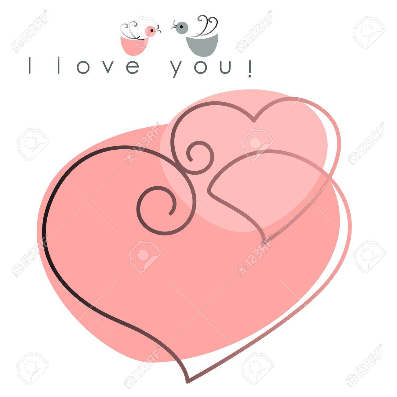 Valentine card. two hearts with birds on pink background, and text - I love you. Vector illustration - 11840323