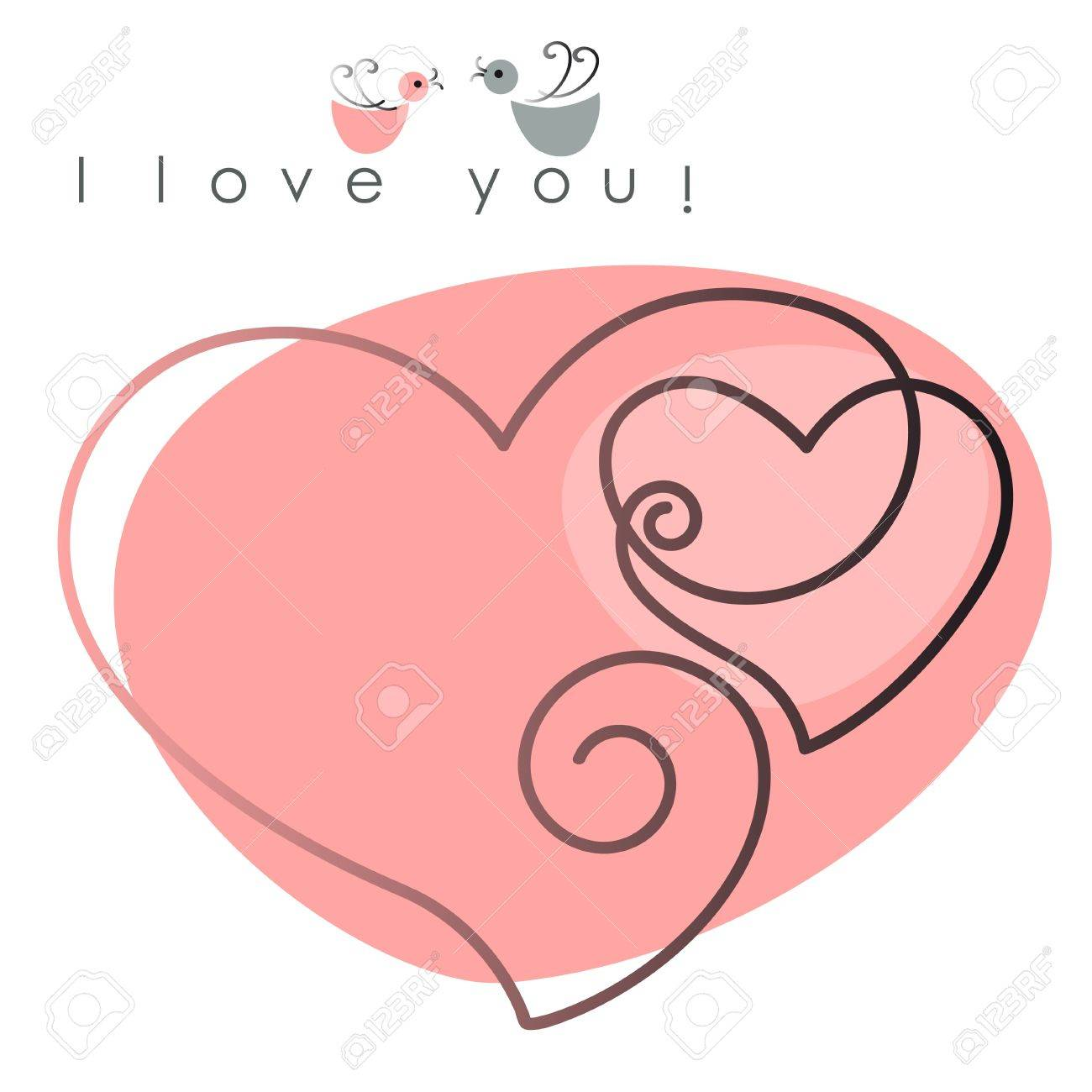 Valentine card. two hearts with birds on pink background, and text - I love you. Vector illustration - 11840325