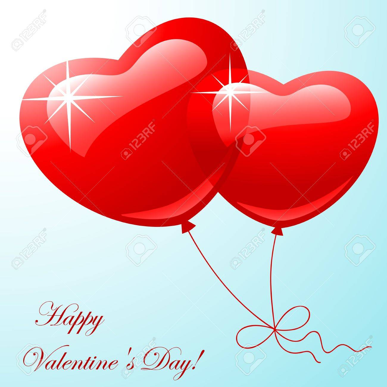 Valentine greeting card - happy valentine day.Red two balloon in shape hearts on a blue background. Vector illustration Stock Vector - 11924419