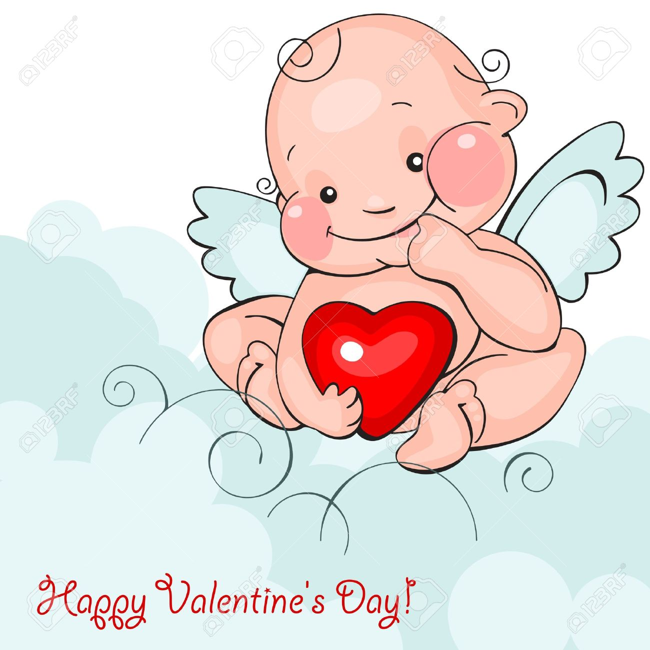 Valentine Greeting Card   Happy Valentine Day.baby Angel With Heart On A  Blue Clouds