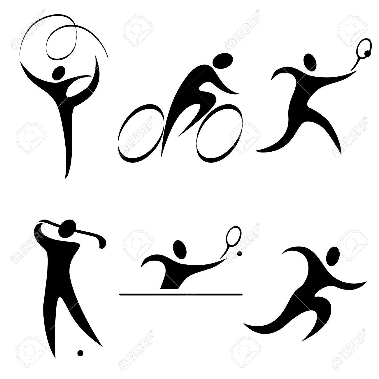 Personne Jeu D'icônes Sportives. Les Sports Individuels. Olympiques D'été Discipline.vector Illustration. Clip Art Libres De Droits , Vecteurs Et Illustration. Image 12009663.
