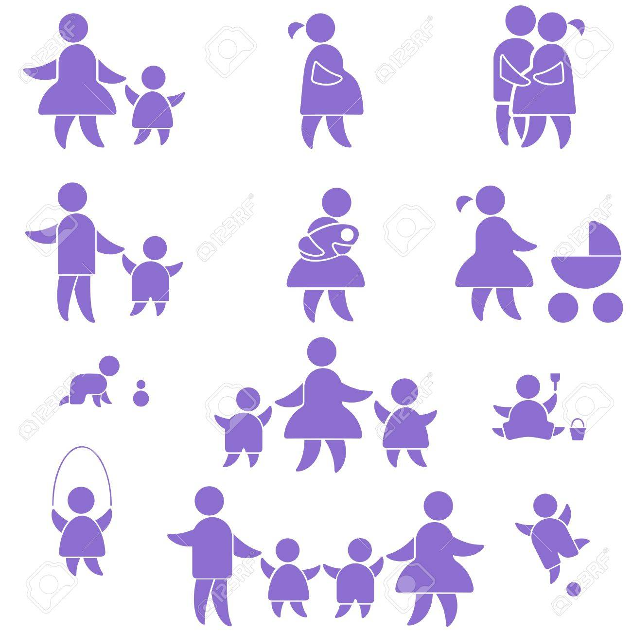happy family icon. set symbol person: mother, father and kids isolated on white - 12055345