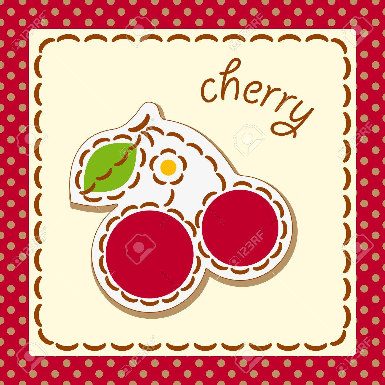 cherry. Cards from the fruit and berry, decorated with embroidery on the elements of the original background. Stock Vector - 17180410