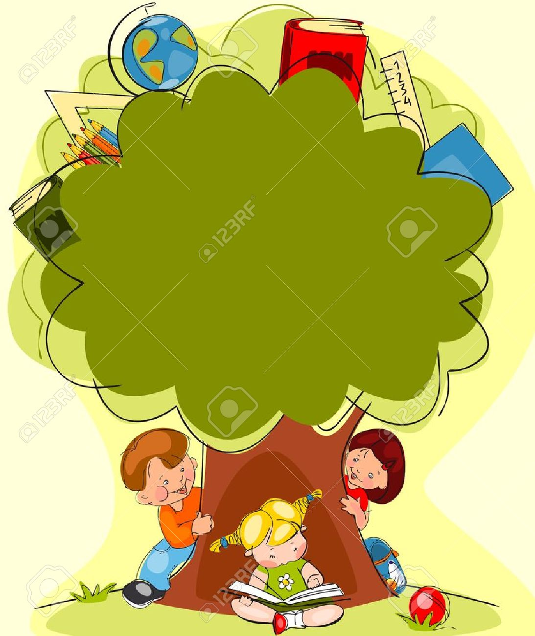 school children under the tree of knowledge Place for text - 21394481