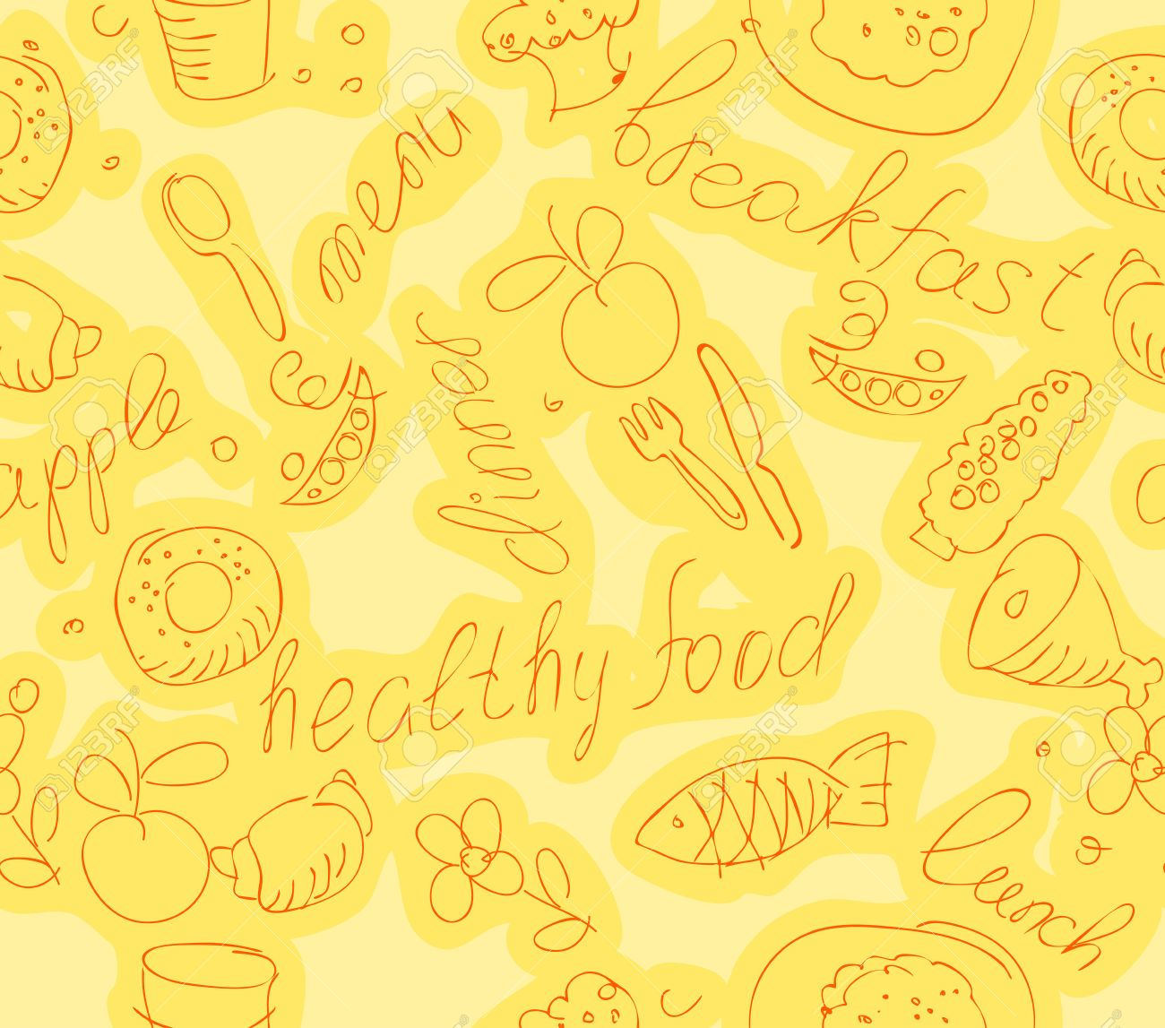Yellow Kitchen Wallpaper Wallpaper With Food And Kitchen Items On A Yellow Background