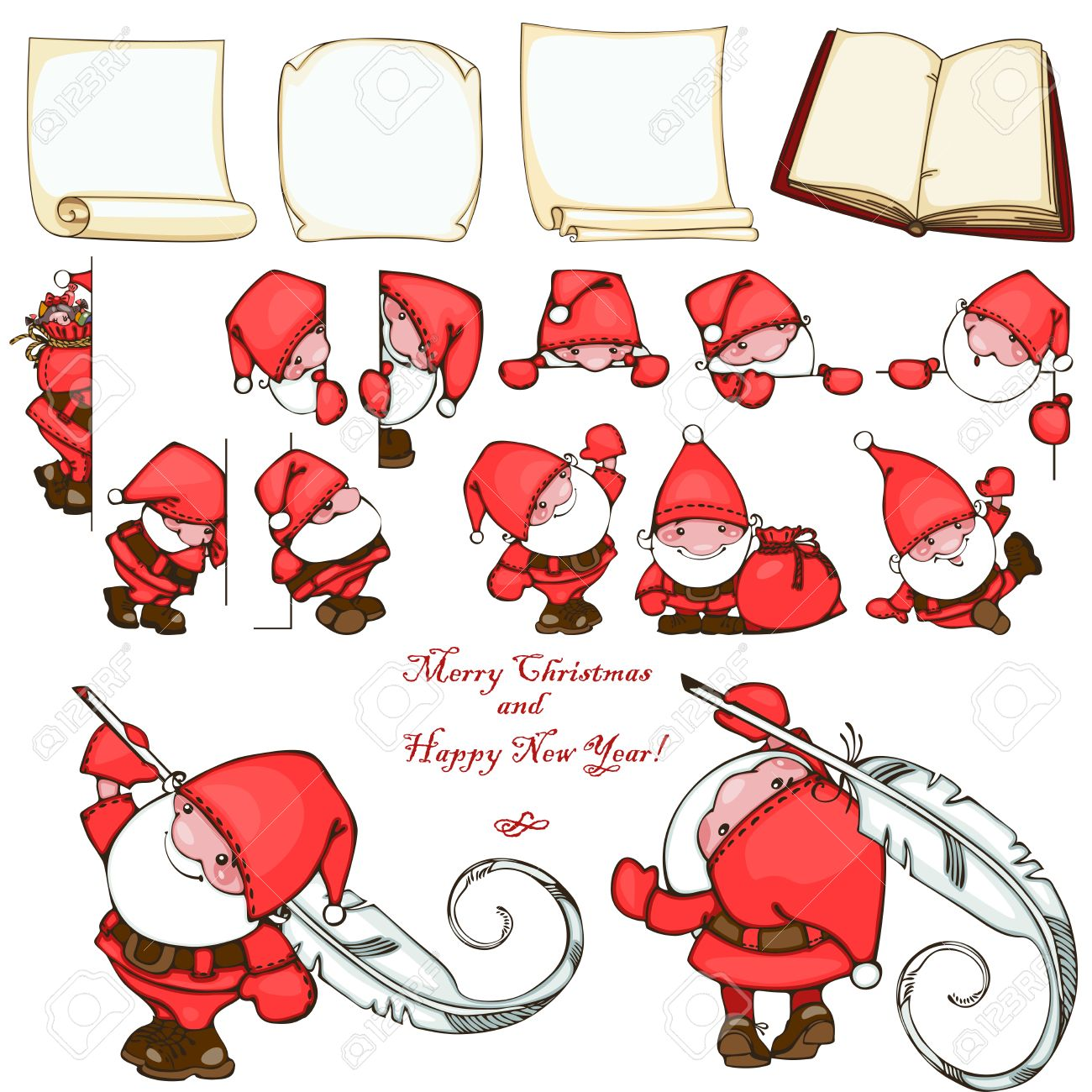 Christmas set with paper blank and Santa Claus. Stock Vector - 23860529