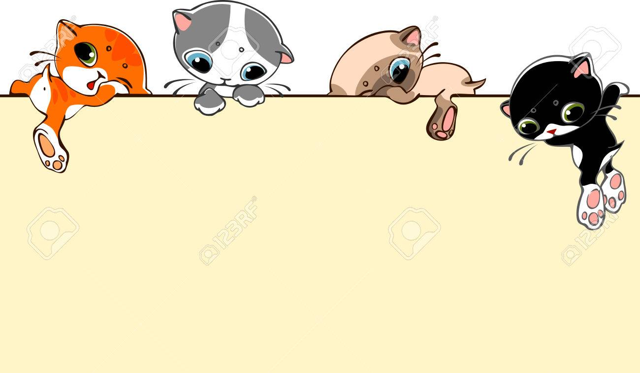 banner  with little cats. Place for text. vector illustration. Stock Vector - 23863829
