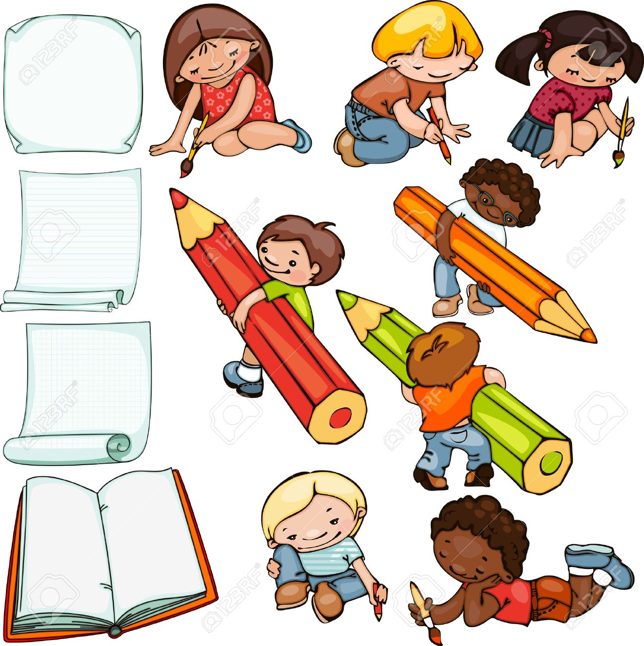 school set, children draw and blank forms for text - 30682662