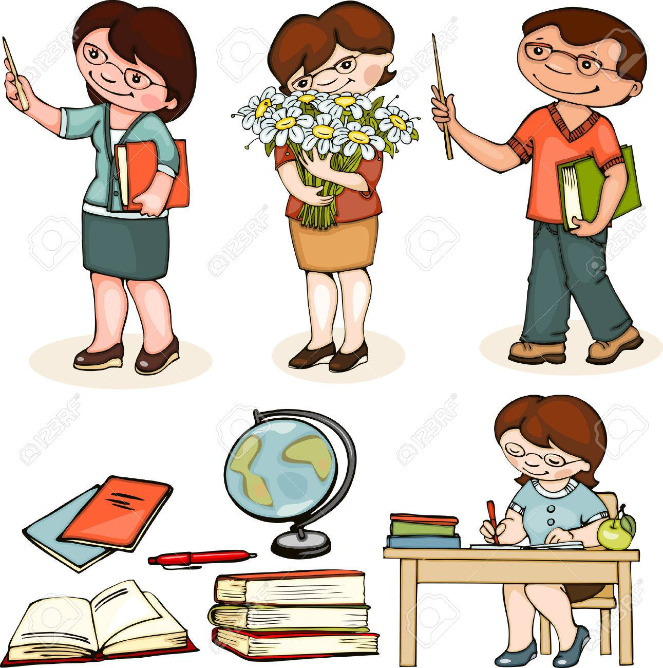 teacher school. set man and woman standing, with flowers and at the table. - 31058750