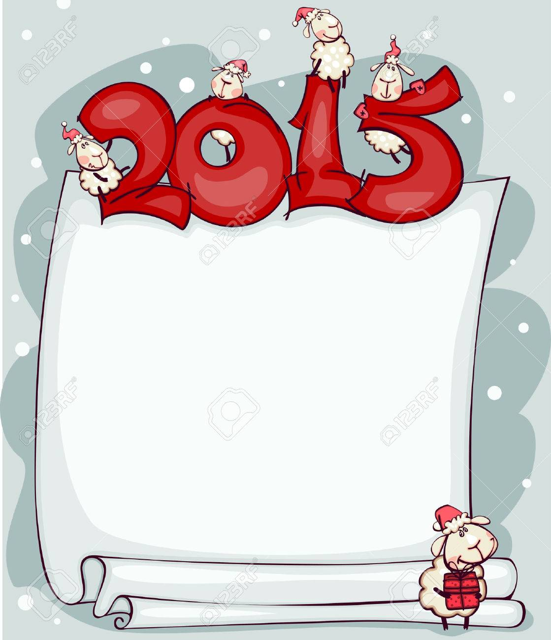 New Year's blank 2015 with the ram and goat. Place for text - 32558995
