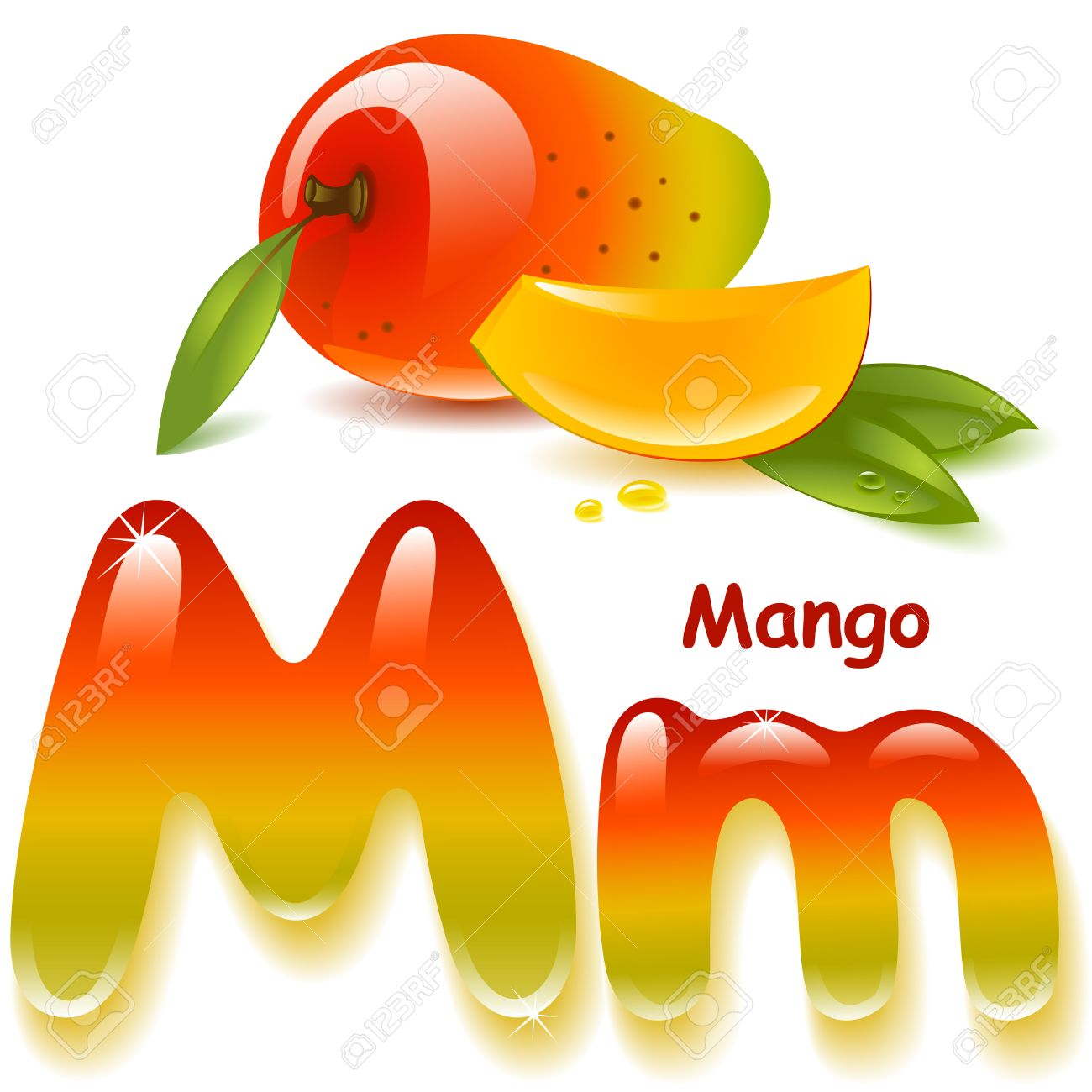 Alphabet. English capital and uppercase letter M, stylized color of mango juice. mango with leaf and slices. vector illustration - 39123043