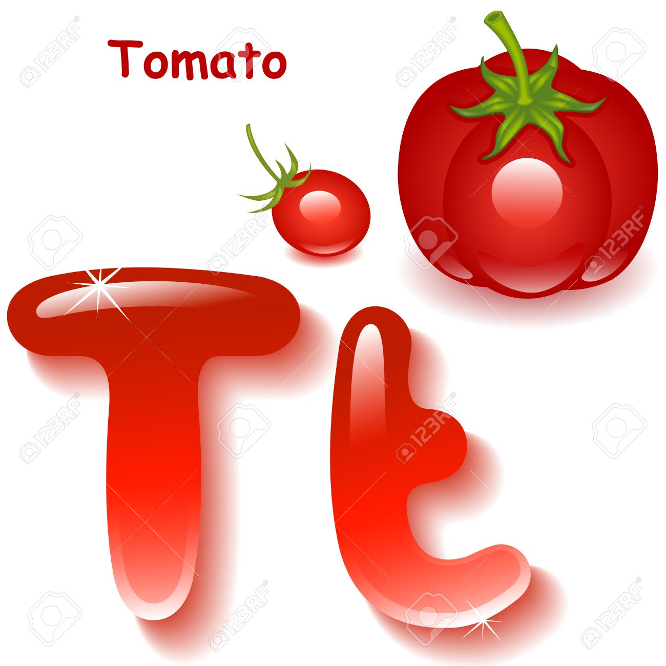 english capital and uppercase letter t stylized color of tomato juice red