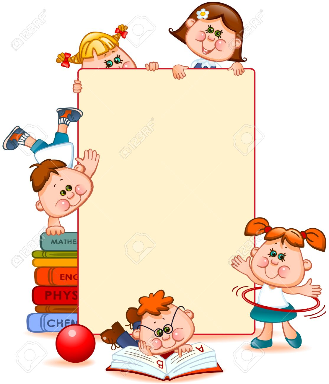 Frame with school children and school supplies. Space for text. Vector illustration - 47626769