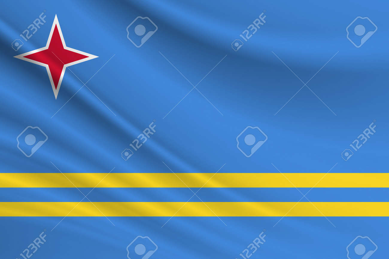 Flag of Aruba. Fabric texture of the flag of Aruba. - 170833873