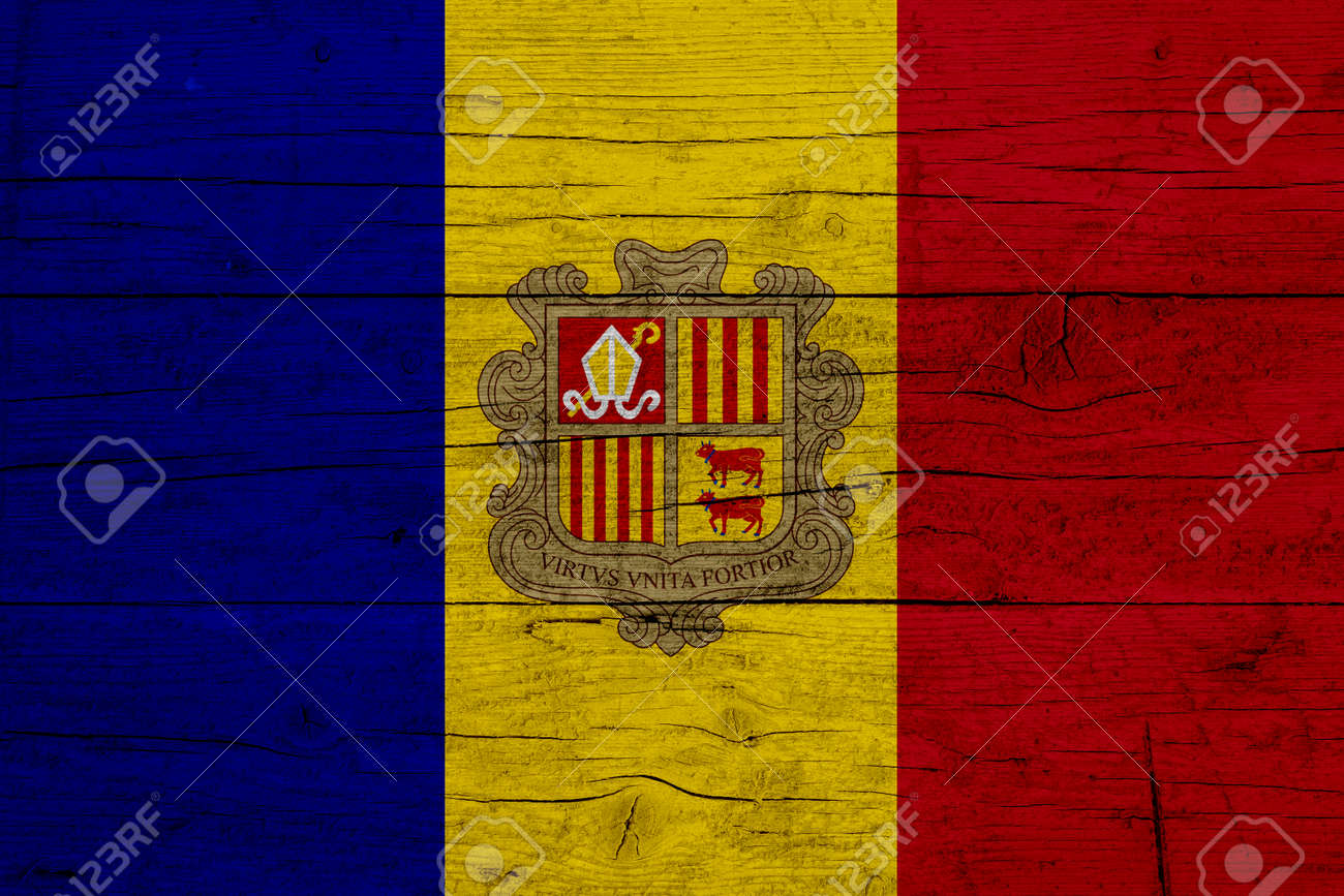 Flag of Andorra. Wooden texture of the flag of Andorra. - 171958648