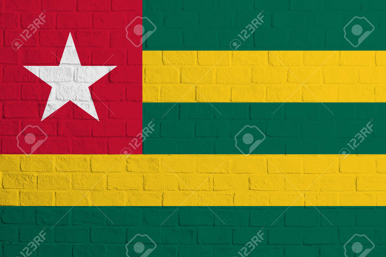 Flag of Togo. Brick wall texture of the flag of Togo. - 171958659