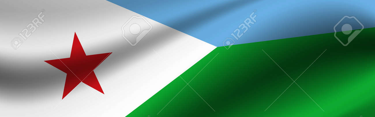 Banner with the flag of Djibouti. Fabric texture of the flag of Djibouti. - 171958669