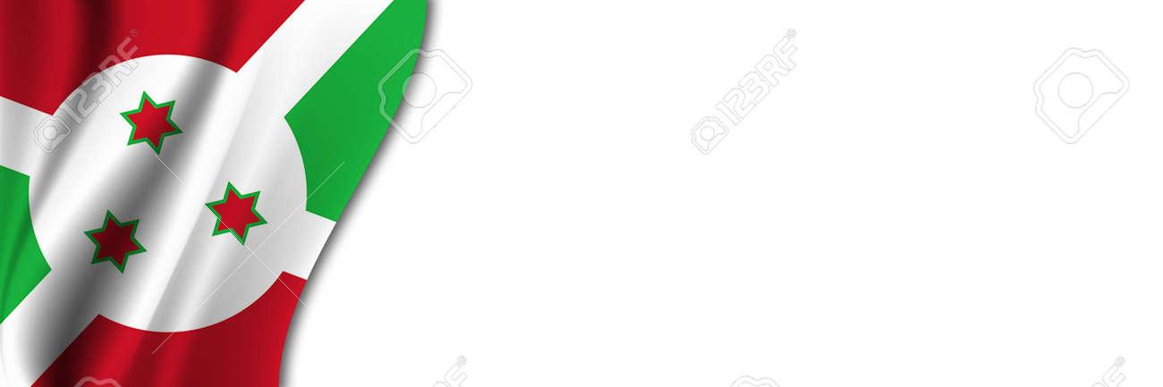 Burundi flag on white background. White background with place for text near the flag of Burundi. - 171958682