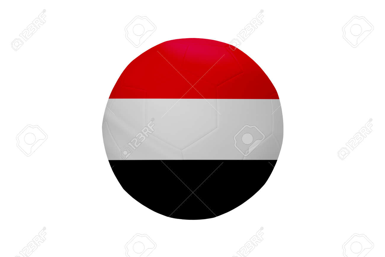 Football in the colors of the Yemen flag isolated on white background. In a conceptual championship image supporting Yemen. - 171958743