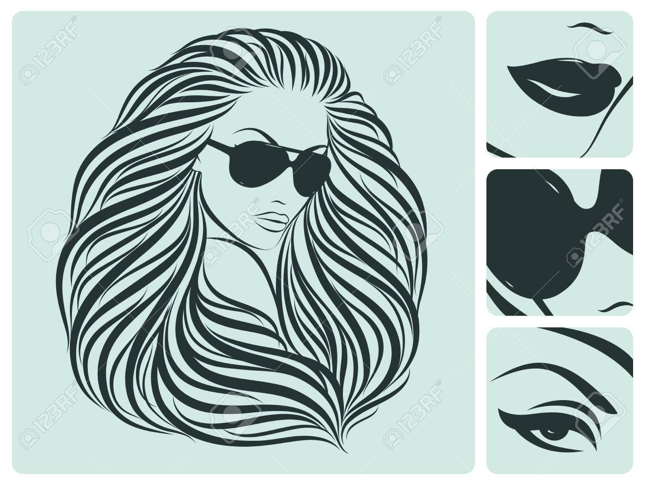 Long hairstyle. Beautiful vector illustration. Stock Vector - 9087619