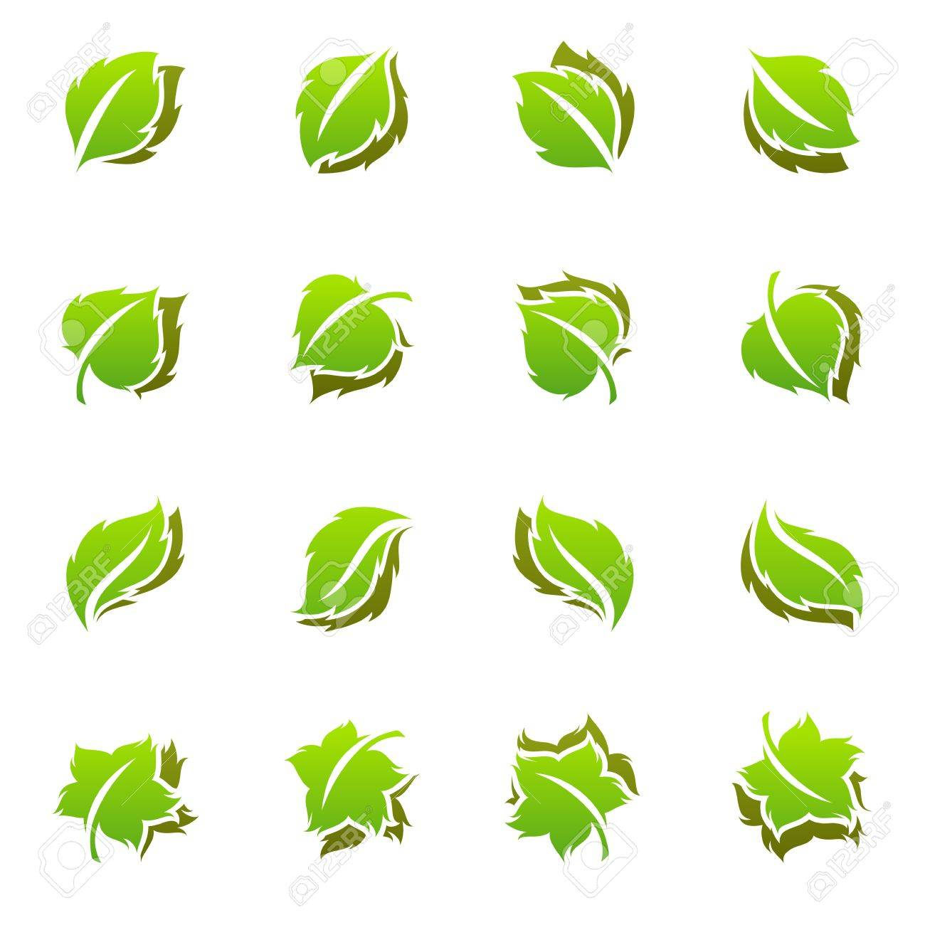 leaves vector logo template set elements for design icon set rh 123rf com vector leaves png vector leaves free