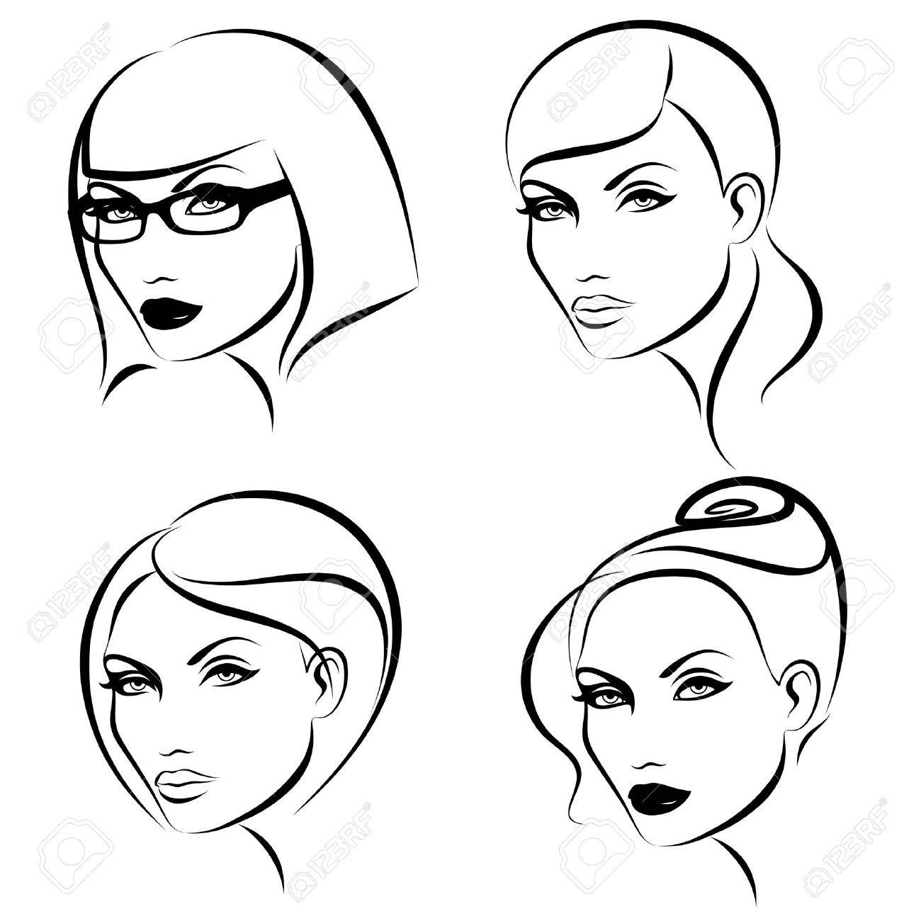 Hairstyles &amp, makeup. Stock Vector - 9451328