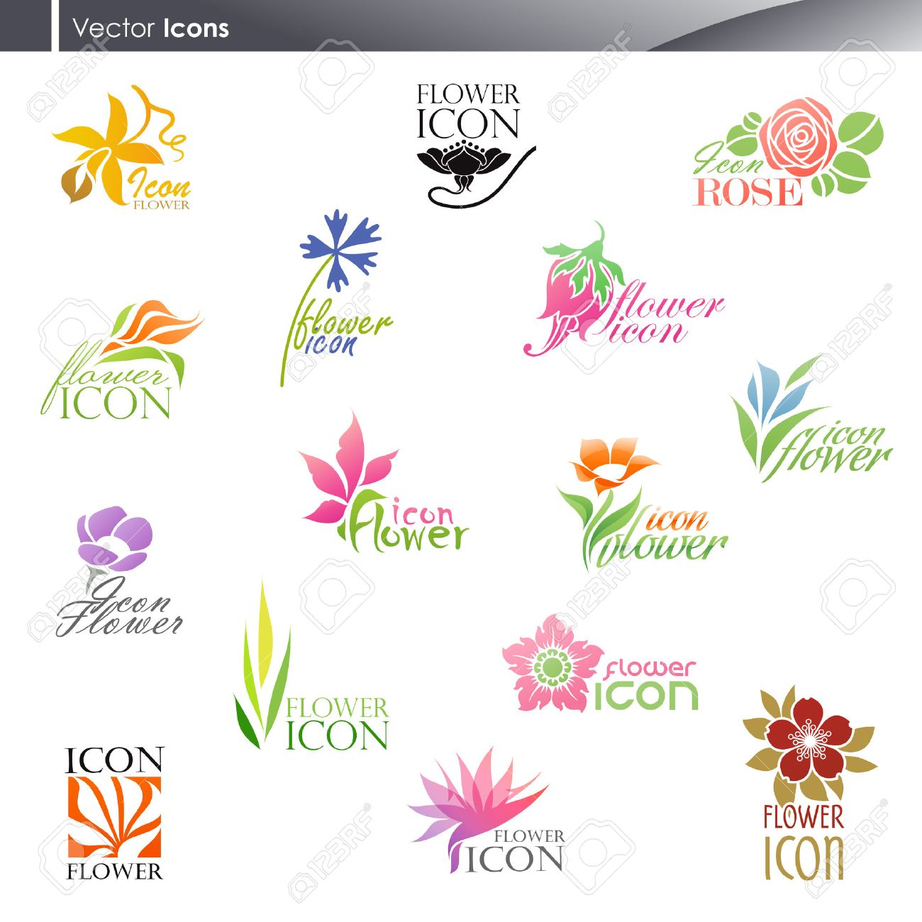 Flowers Vector Logo Template Set Elements For Design Icon