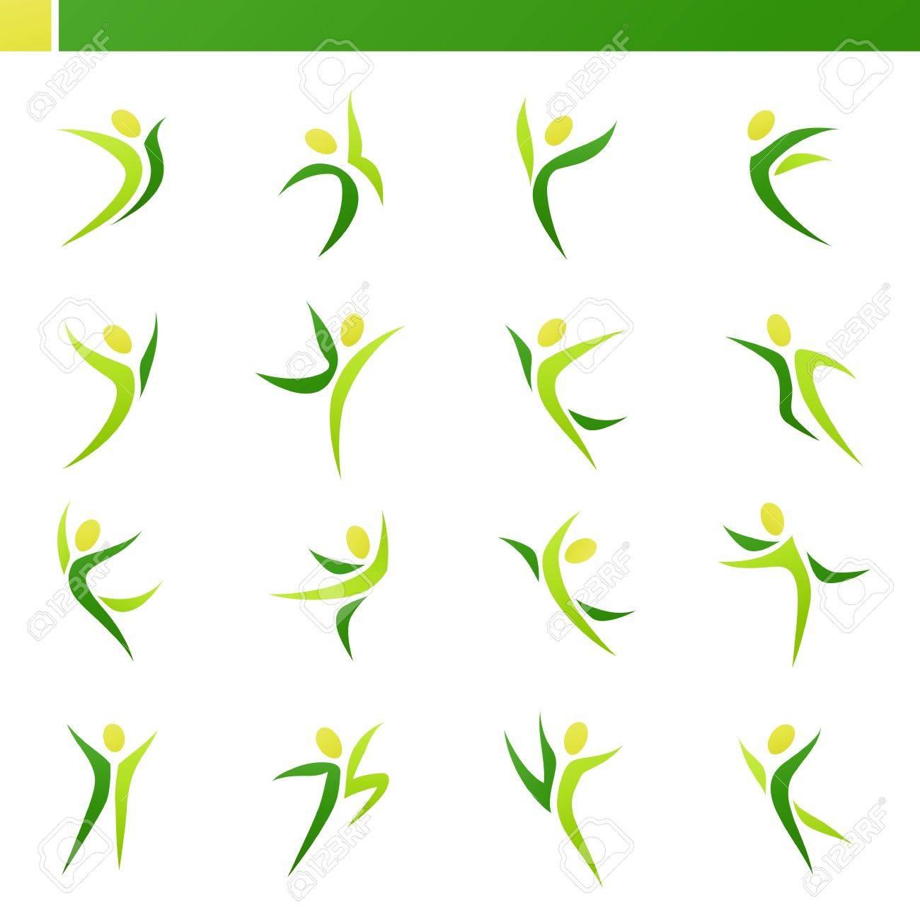 Resumen Figuras Humanas En Acción. Vector Logo Plantilla De Conjunto ...
