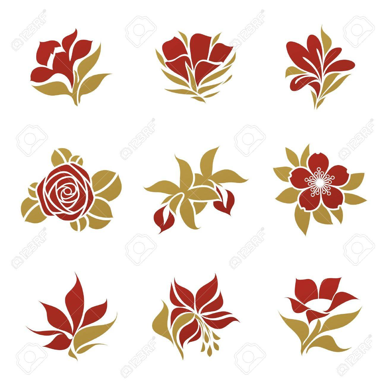 Flowers Vector Logo Template Set Elements For Design Royalty Free