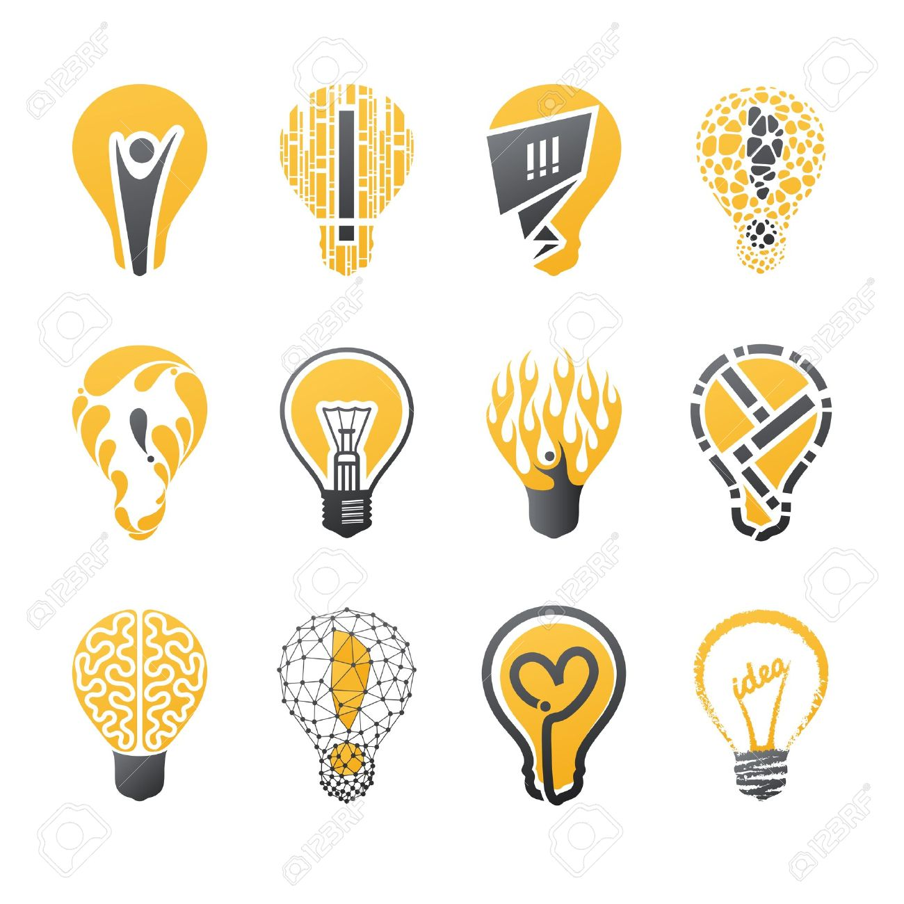 light bulb idea vector logo template set collection of design elements icons set - Idea Design