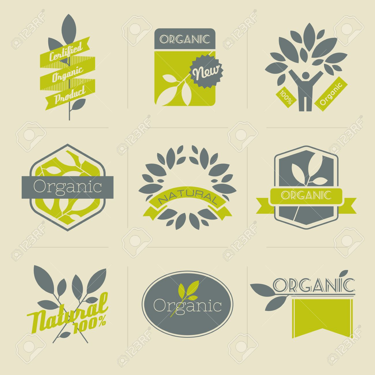 Organic retro labels, badges and other design elements with leaves  Vector illustration Stock Vector - 16441665