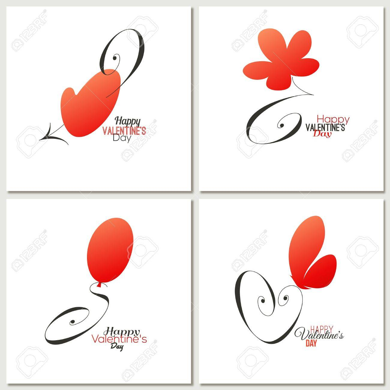 Stylish calligraphic valentine day greeting cards royalty free stylish calligraphic valentine day greeting cards stock vector 17263219 m4hsunfo