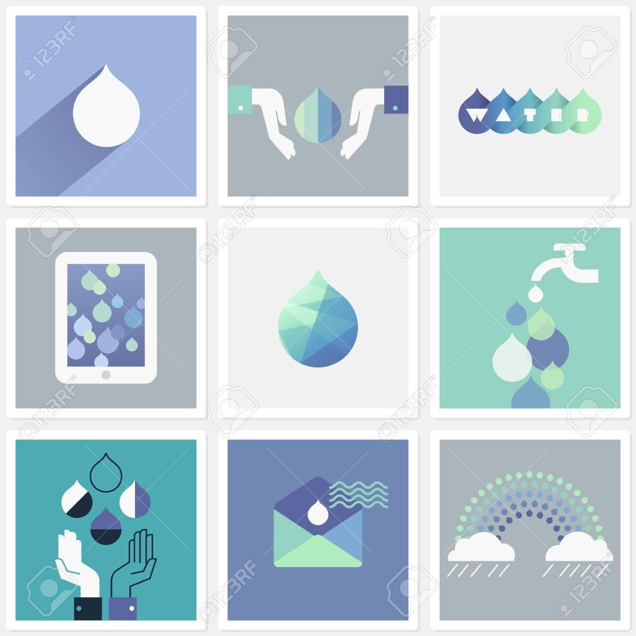Drops of water. Set of design elements Stock Vector - 19884533