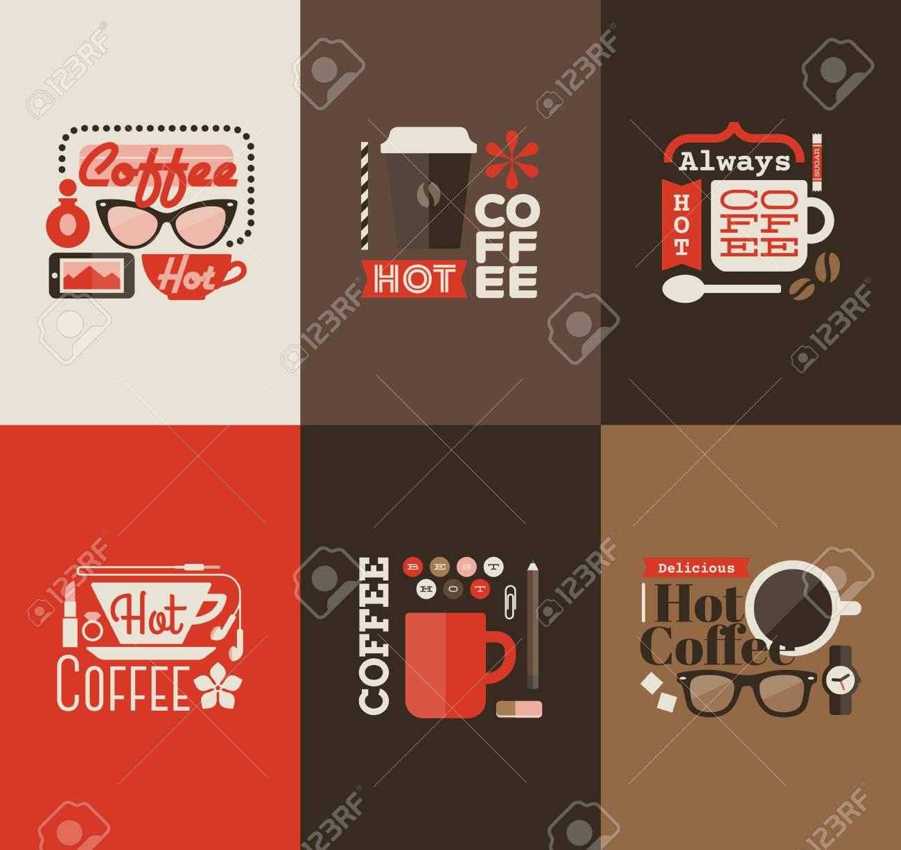 Hot coffee - Set of vector design elements Stock Vector - 24914026