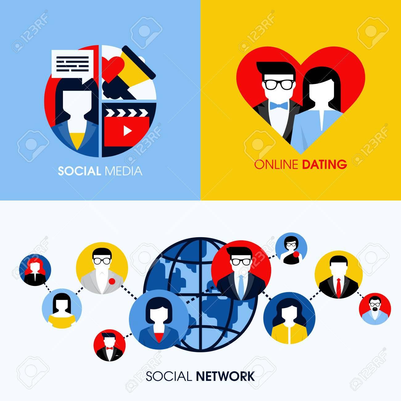 La Red Social Medios Sociales Y De Citas En Línea Conceptos Planas Modernas