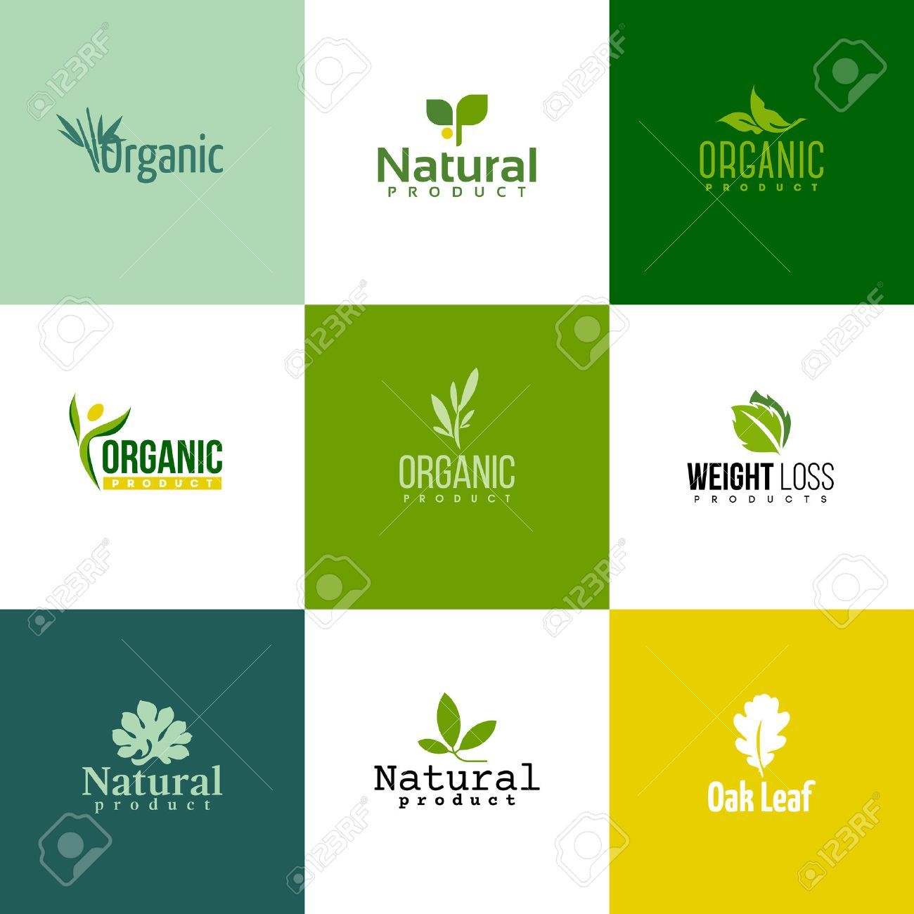 Set of modern natural and organic products logo templates and icons - 35620653