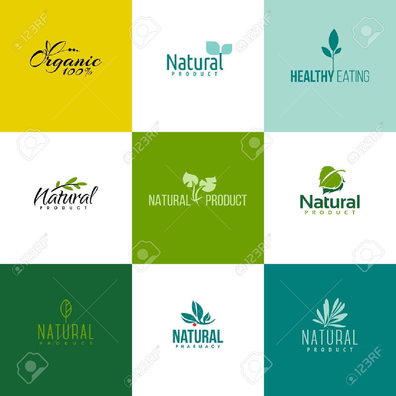 Satz Von Natürlichen Und Bio-Produkte-Symbol-Vorlagen. Ikonen Der ...