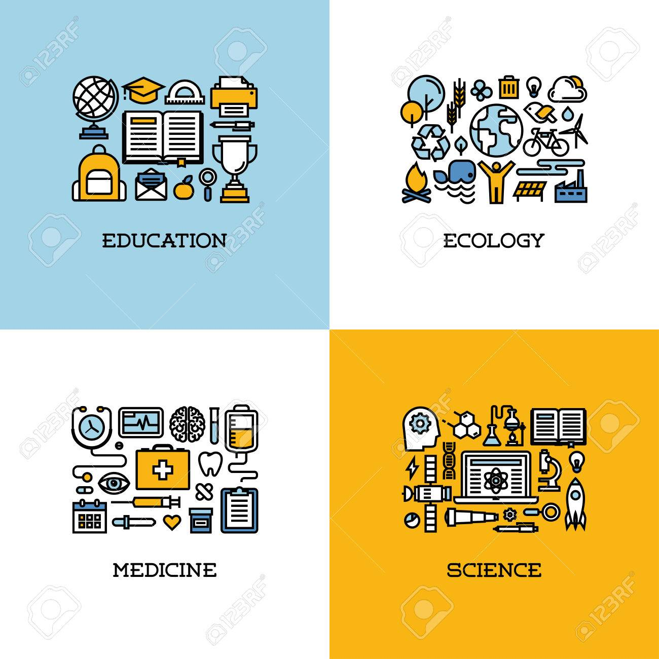 website creation stock photos images 6 063 royalty website website creation flat line icons set of education ecology medicine science