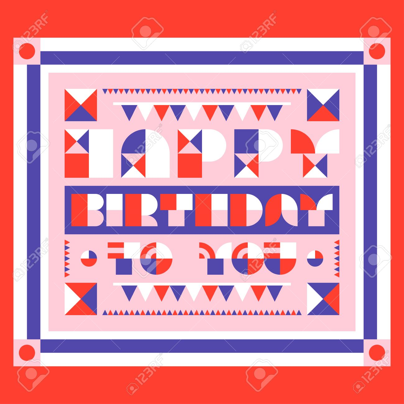 Happy birthday greeting card with geometric lettering flat style happy birthday greeting card with geometric lettering flat style vector birthday party invitation with garlands stopboris Image collections