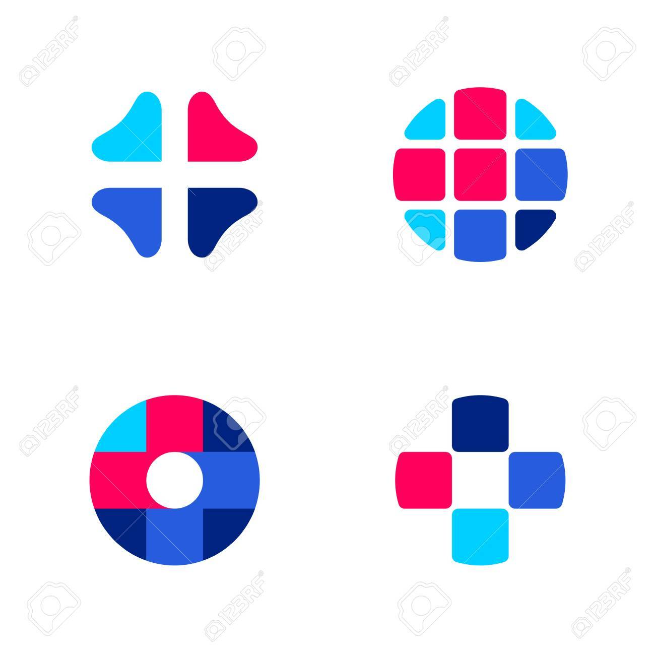 set of abstract medical vector logo mark templates or icons royalty rh 123rf com vector medical logo vector medical group