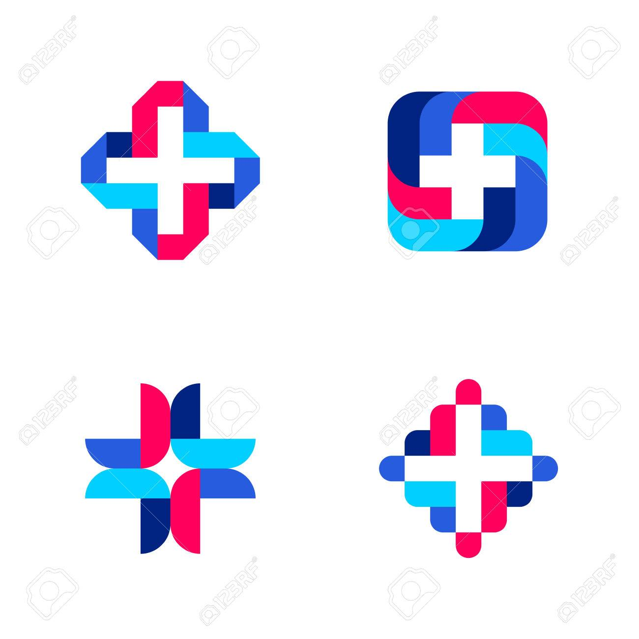 colorful cross abstract medical logo mark templates or icons rh 123rf com medical victoria tx medical vector eps
