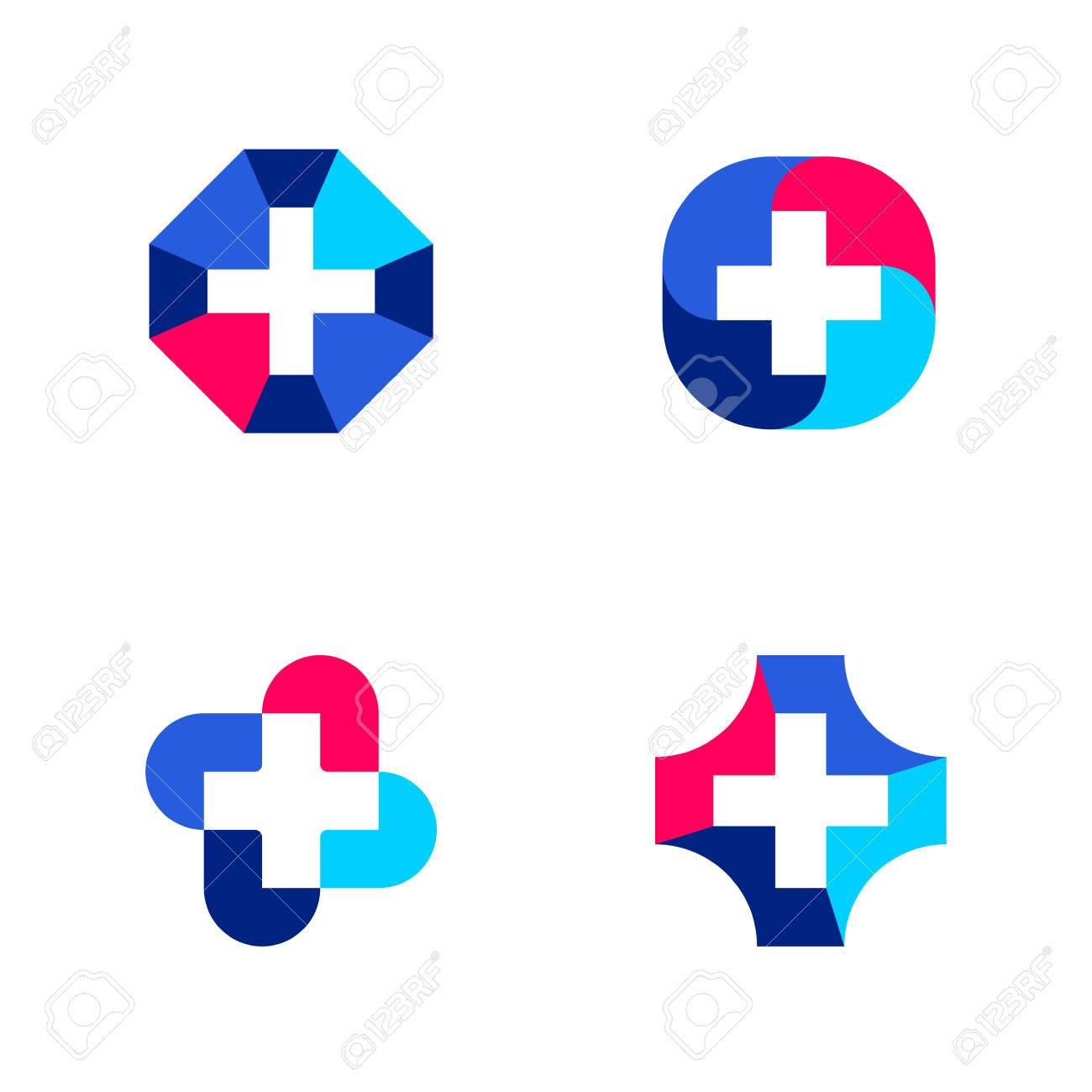 Set Of Abstract Medical Logo Mark Templates Or Icons With Cross ...