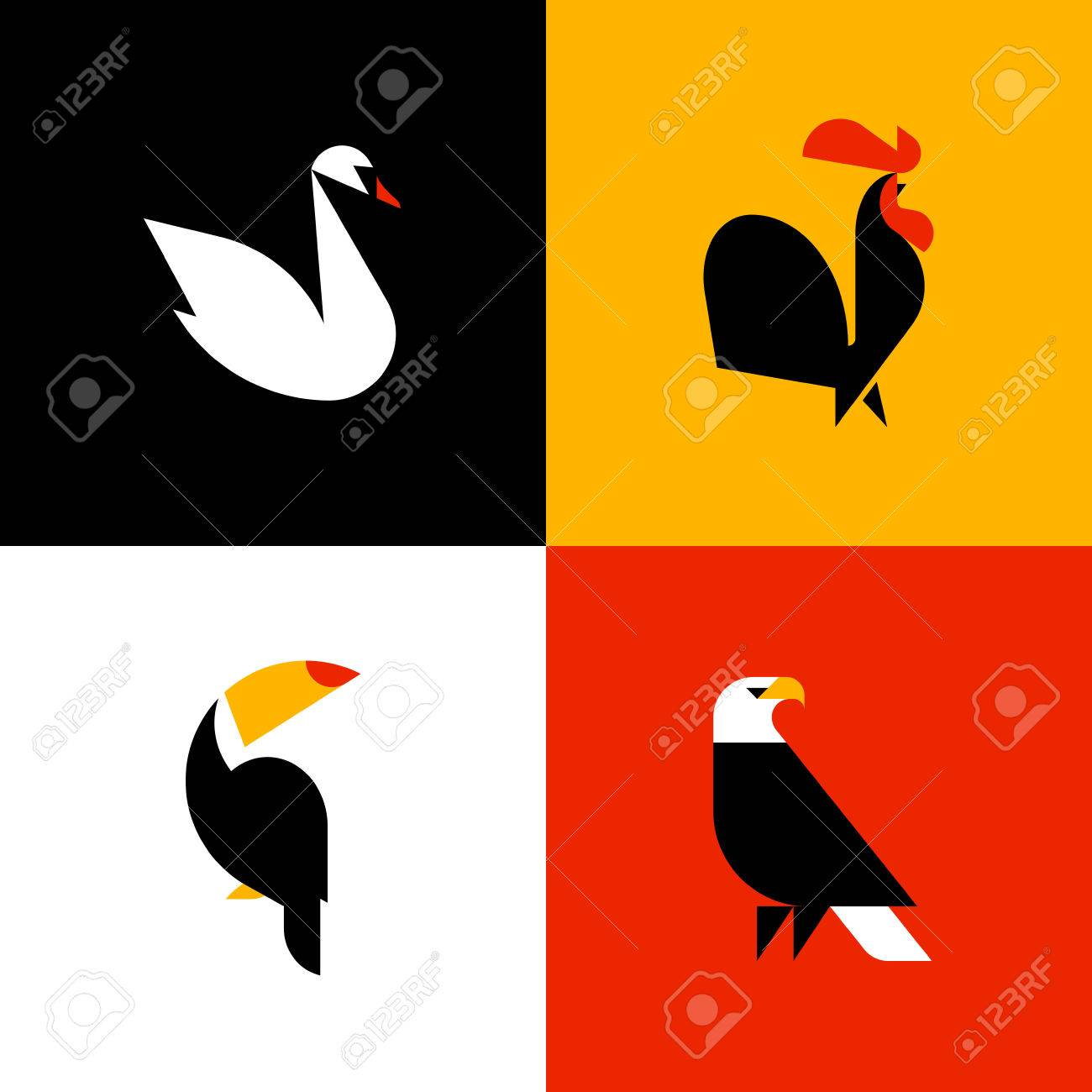swan rooster toucan bald eagle set of flat style vector logo