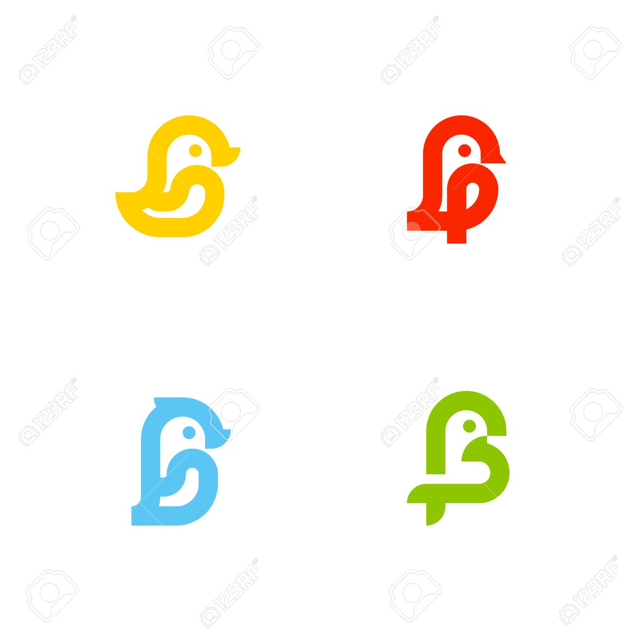Set Of Icons Or Logo Templates With Little Birds. Duck, Sparrow ...