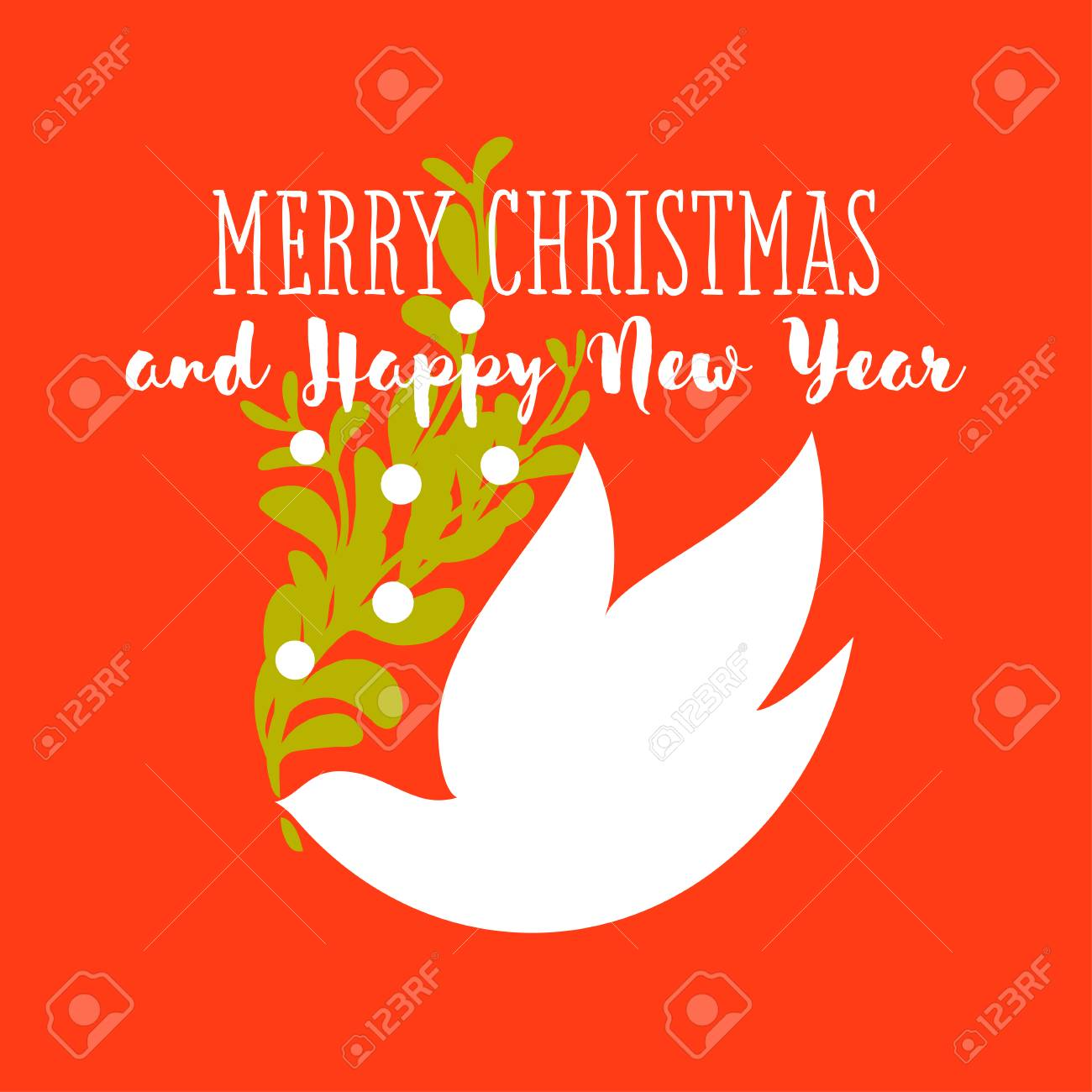Christmas Card With Holiday Greetings And White Dove Holding