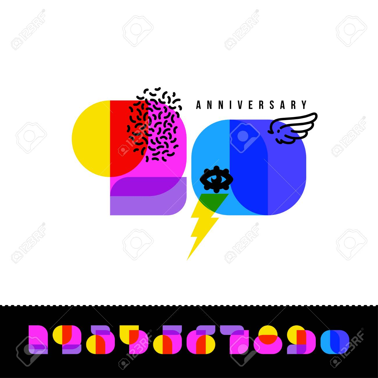 Happy Anniversary Greeting Card With Set Of Super Colorful Retro