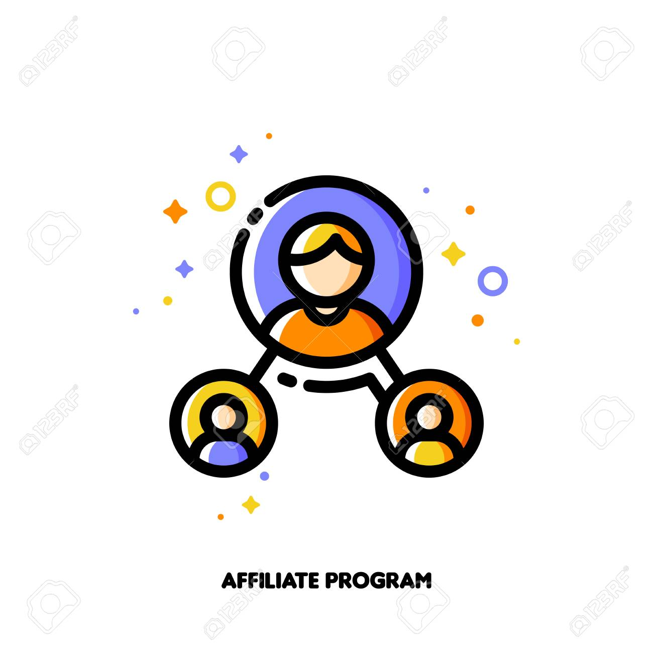 Affiliate marketing, partner program or referrals network concept