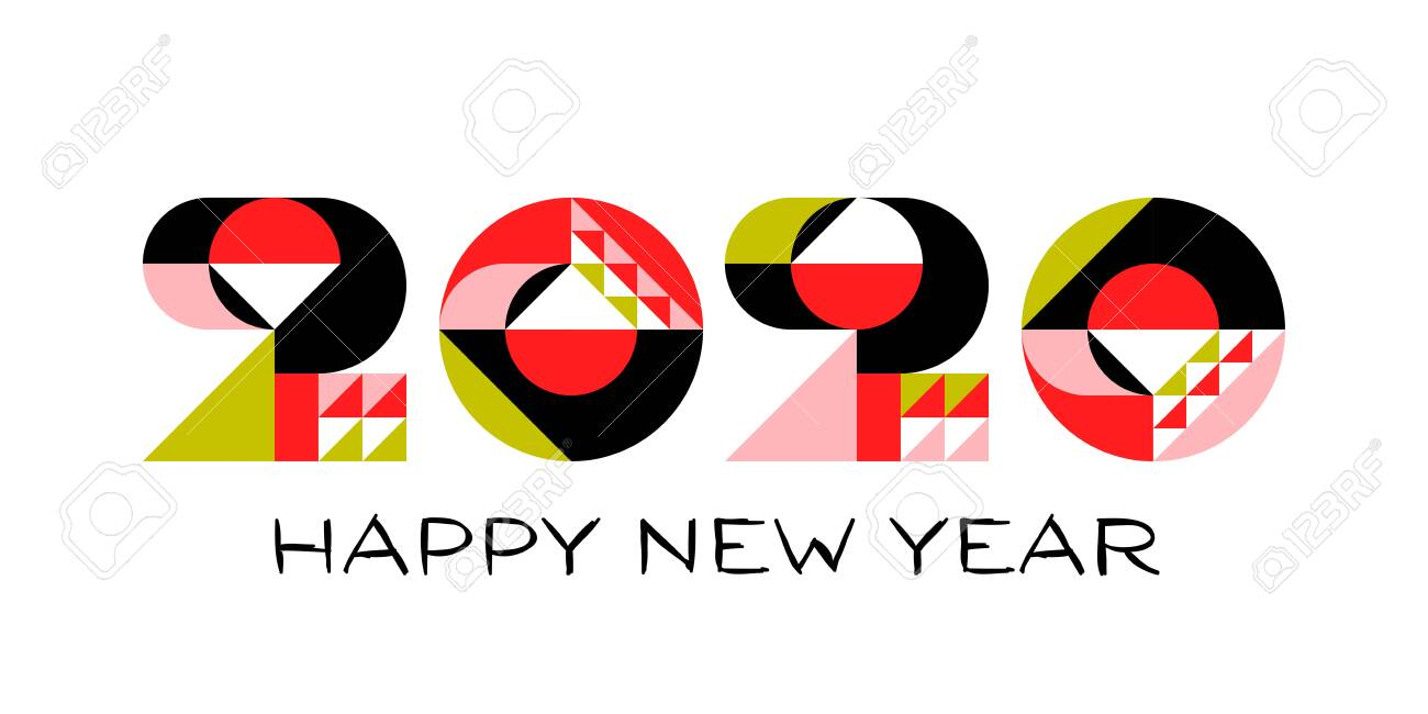 Happy New Year 2020 logo design with multicolored geometric numbers with abstract design elements on white background. Modern vector illustration for printed matter or web design - 128473708